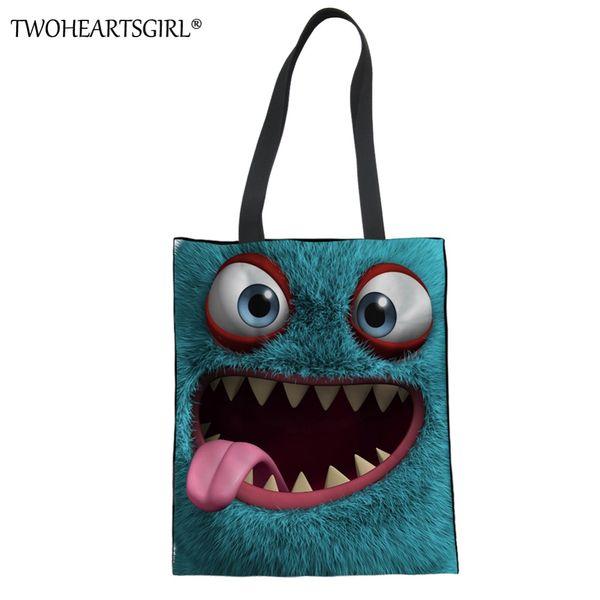TWOHEARTSGIRL Cute Monster 3D Prints Women Canvas Handbag Lady Large Capacity Funny Tote Bags Travel High Quality Shoulder Bags