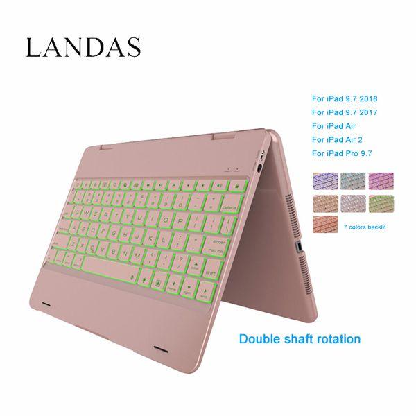 Landas For iPad Air 2 Keyboard Case Bluetooth Wireless LED Backlit Keyboard Cover For iPad Air A1566 A1567 Tablet 9.7 Inch