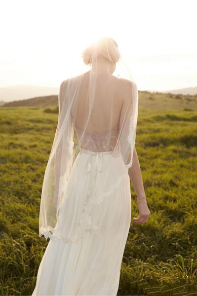 Lindo Branco Laço De Marfim Da Noiva Nupcial Do Véu Do Casamento Feitas À Mão Sexy Véus De Noiva Uma Camada de Renda Applique Acessórios Venda Quente Barato