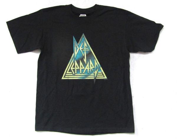 Def Leppard Rock Brigade Triangle Logo Maglietta nera Nuova maglietta ufficiale Merch Mens T-Shirt Summer O Neck Cotton