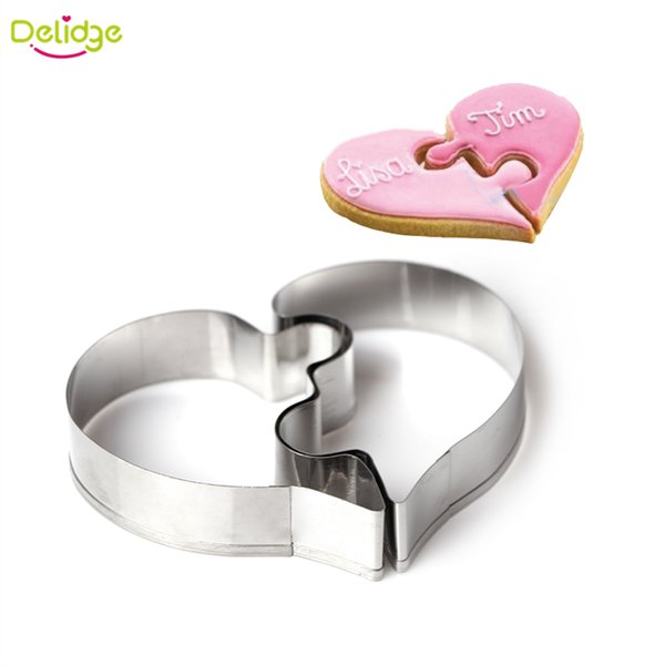 Wholesale- 2 pcs/set Heart Cookie Mold Left Right Heart Shape Cookie Cutter Funny Love Puzzles Romantic Stainless Steel Cake Cookies Mold