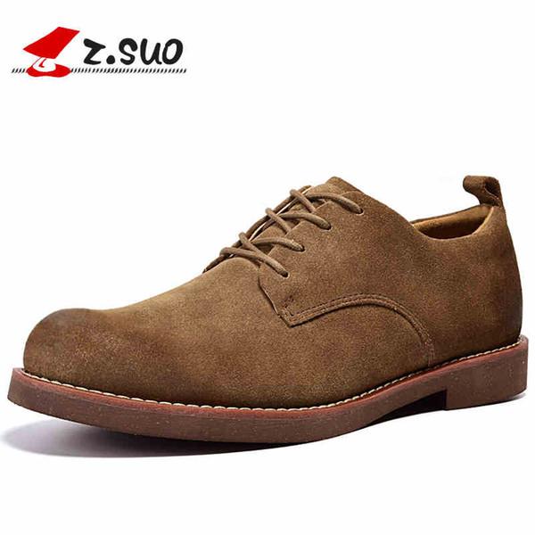 Z. SUO Inek süet Deri Erkekler Rahat Ayakkabılar 2017 Sonbahar Moda Retro Düz Ayakkabılar Nefes Yumuşak Dantel-up Oxfords