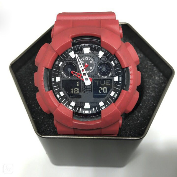 Relojes grandes, relojes deportivos para hombres, relojes de caballero digitales LED impermeables para alpinismo, todo tipo de punteros, cajas, luces automáticas.