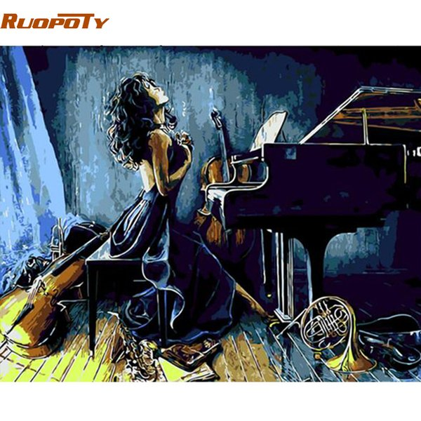 RUOPOTY Frame piano girl DIY Painting By Numbers modern wall painting unique gift home wall art picture Calligraphy