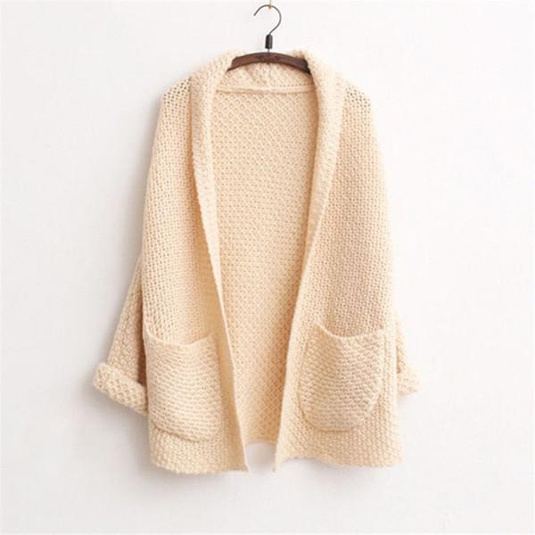 Einfarbig Strickjacken Langarm Lange Pullover Für Weibliche Lässige Taschen Pullover Frauen Unregelmäßigen Hals Pullover Weibliche