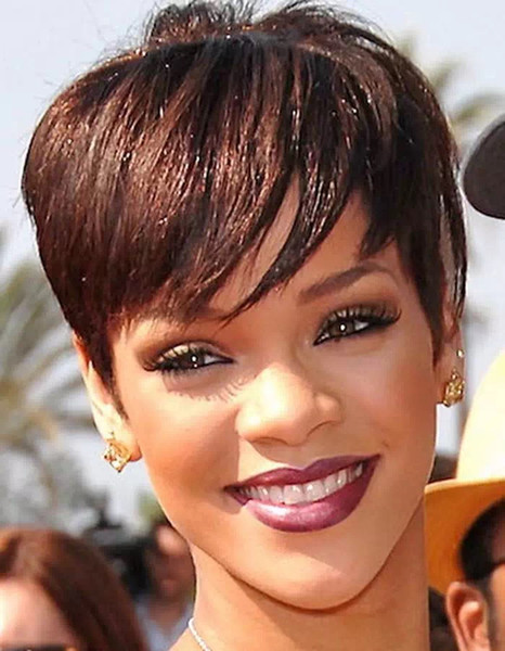 Short Pixie brazilian human hair wigs glueless full lace lace front cut human hair wigs for black women