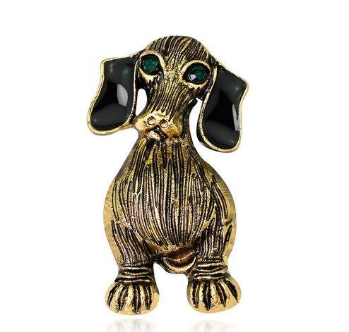 Retro Animal Brooches High Quality Crystal Enamel Dog Corsage Lapel Pins For Women Men Costume Accessories Brooch Pins Party Jewelry