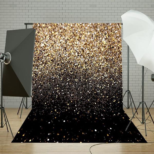 Freya 50x210 cm Festa de Vinil Glitter Ouro Preto Dot Fotografia Photo Studio Backdrop Fundo Fotografia 5x7ft Para Estúdio Foto