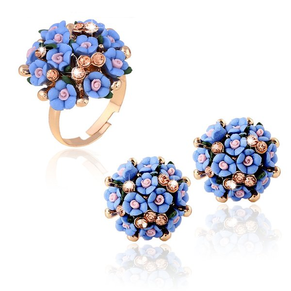 Flower ring set personality fashion female diamond ceramic flower Jane