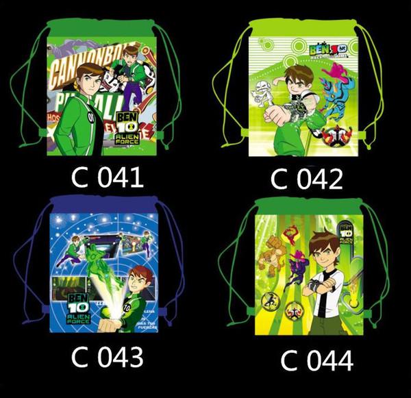 12Pcs Ben 10 Cartoon Kids Drawstring Printed Backpack Shopping School Traveling Party Bags Birthday Gifts