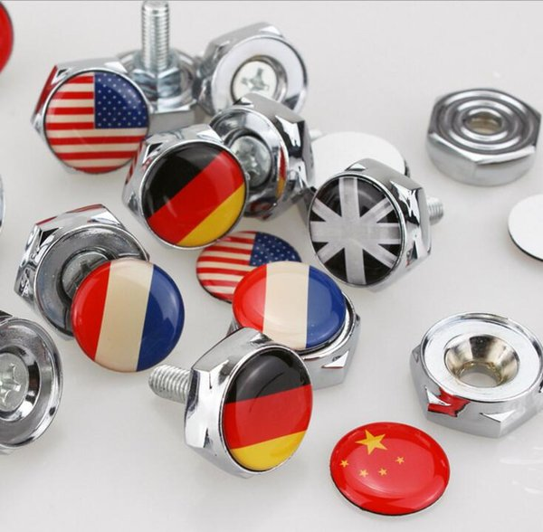China France Italy F1 flag License Plate Screws Thread License Plate Bolt Frame Bolts Universal Screws Chrome Car Styling [8 country flag]