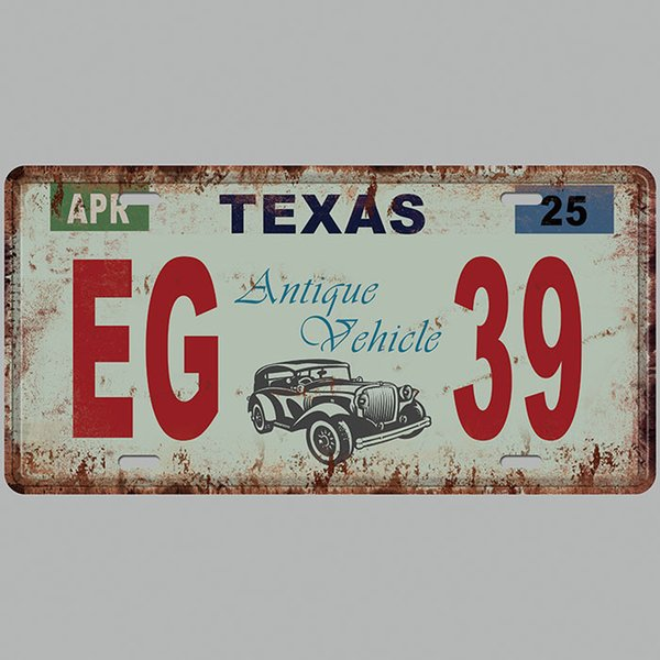 TEXAS EG 39 Antique Vehicle 3D Emboss Car Plates Number USA License Plate Garage Plaque Metal Tin Sign Bar Decoration Vintage Home Decor