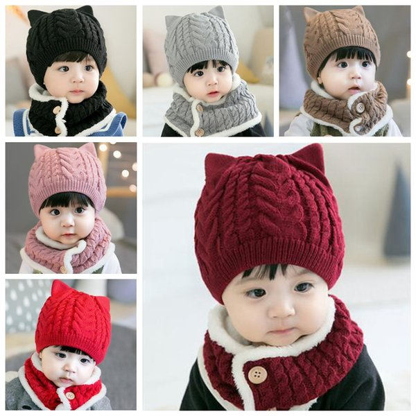New baby hats withe scarve set kids fashion bear ear winter warm crochet cap and scarves suit solid pure color knitting ring scarves