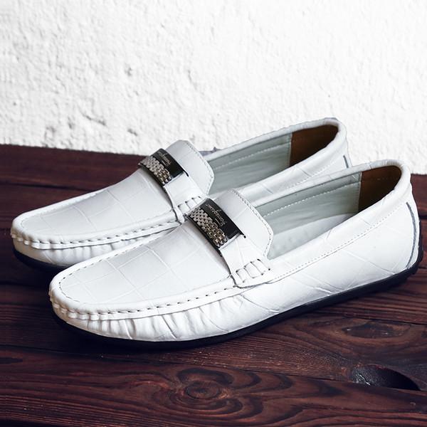 Herrenschuhe Luxusmarke Aus Echtem Leder Casual Driving Oxfords Wohnungen Schuhe Herren Müßiggänger Mokassins Italienische Männer Fahren Schuhe EU38-47