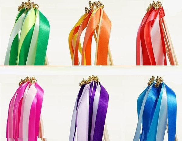 new Colorful Confetti Ribbon wish Wands With Bells Party Holiday Fairy Stick Wedding Party Decoration Practical Favor #Z315