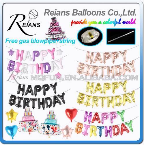 Corda livre 16 Polegada Feliz Aniversário Balões Folha de Prata Dourada Azul Rosa Colorido Decoração de Festa de Balão Letras de Balão Brinquedos