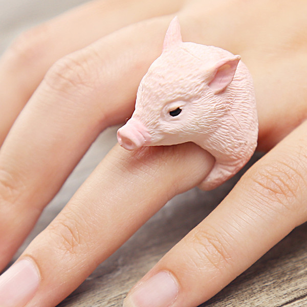 Wholesale Lovely Pink Pig Rings Trendy Style Cute 3D Animal Finger Rings for Women Kids Cartoon Animal Ring Statement Jewelry For Gifts