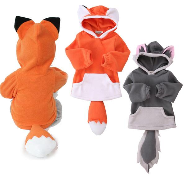 Cartoon Fox Baby Jungen Mädchen Kinder Mantel Hoodie Jacke Pullover Pullover Outwear Polar Fleece Cartoon Hoodie Mantel Warme Fox Jacke LA572