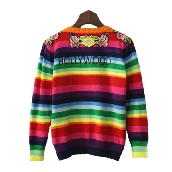 Sweaters For Women Beautifully Embroidered Rainbow Color Stripe Sweater O-neck Pullover Warm Knit Sweater Women's Womens Winter Clothing