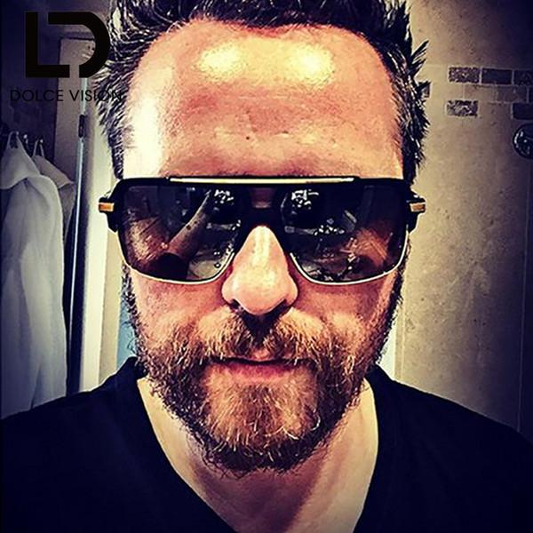 VISION Lunettes de soleil de luxe Hommes Designer Vintage carré dégradé Homme Lunettes de soleil en métal UV400 Oculos Double Pont 2018 Nouveau