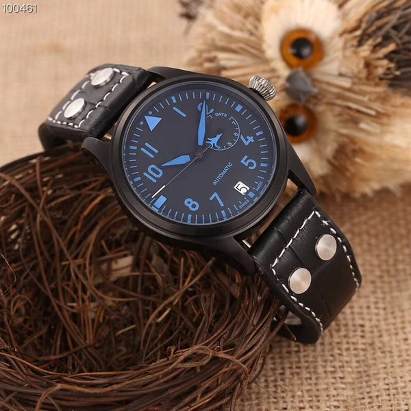 High Quality Luxury Brand Automatic Movement Watch Man Full Function Pilot Bull Leather Band Montre Homme