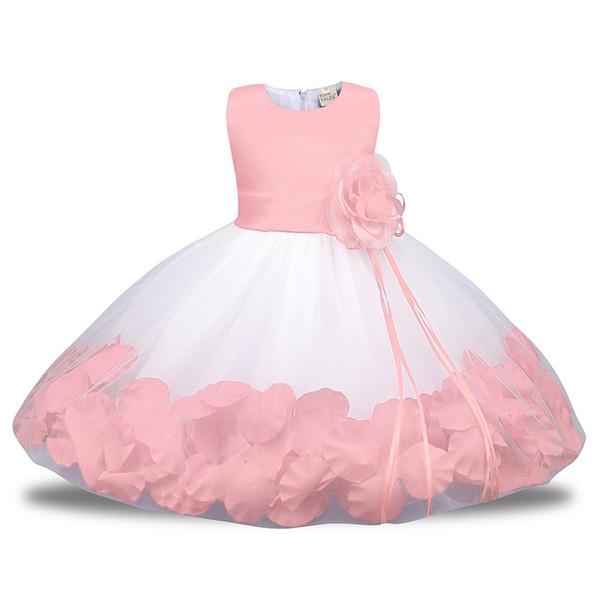 Vestido de niña de las flores de tul blanco y rojo de Puffy rosa para bodas vestido de fiesta de la muchacha fiesta de bautismo de comunión de bebé traje de 1er cumpleaños