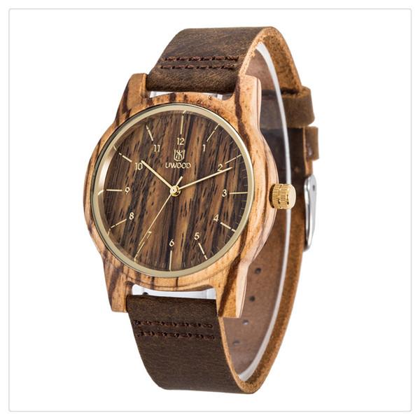 Reloj de madera de bambú del reloj de madera de las mujeres de los hombres de lujo de la venta caliente Reloj de pulsera de cuero del cuarzo Moda y buen uso