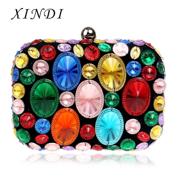 Dinner Evening Bags Day Clutches For Wedding Party Acrylic Beaded Women Evening Bags With Chain Shoulder Handbags Small Purse