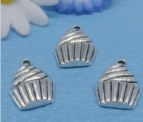 100Pcs Tibetan Silver Cake ice Cream Charms Pendant For Jewelry Making 20x14mm