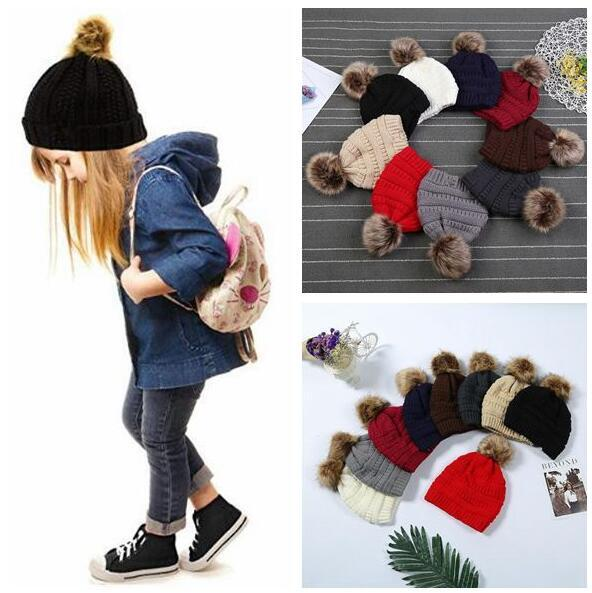 best selling Kids & Adults Fur Pom Beanies With Liner Trendy Hats Winter Knitted Luxury Cable Slouchy Skull Caps Leisure Beanies CCA 20pcs
