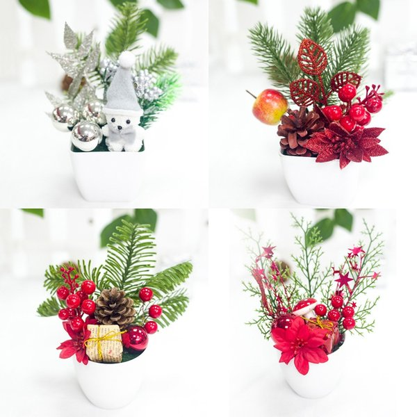 Décoratif De Noël Bonsaï Artificielle De Bureau En Pot De Plante Ornements Innovant Petits Cadeaux Pinecones Baies Table Accessoires