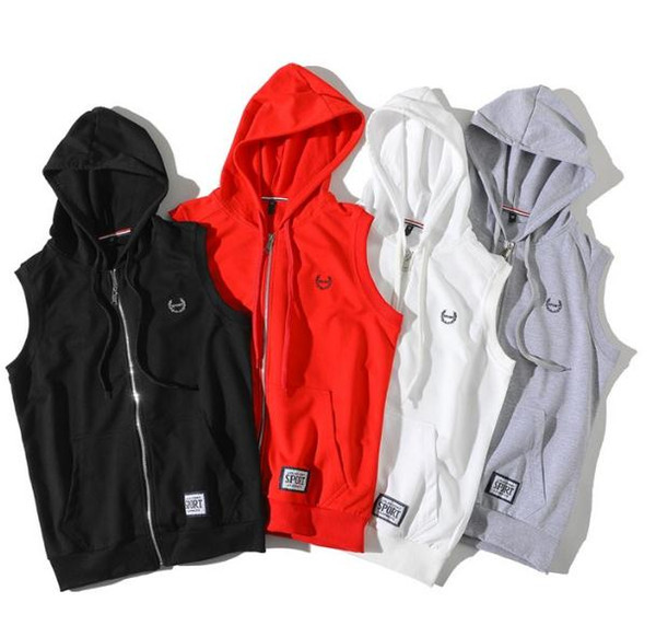 HOT 2018 Outdoor spring autumn period model sweethearts hip hop street cardigan outfit zipper hooded vest coat boys red jacket