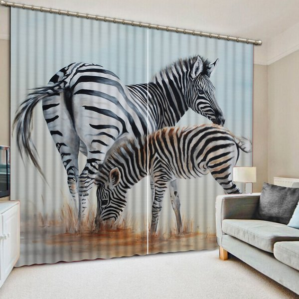 2019 Modern Home Decor Customize 3D Photo Zebra Curtains Blackout Curtains  For Living Room Bedroom Vintage Curtain From Yeyueman, $199.0 | DHgate.Com