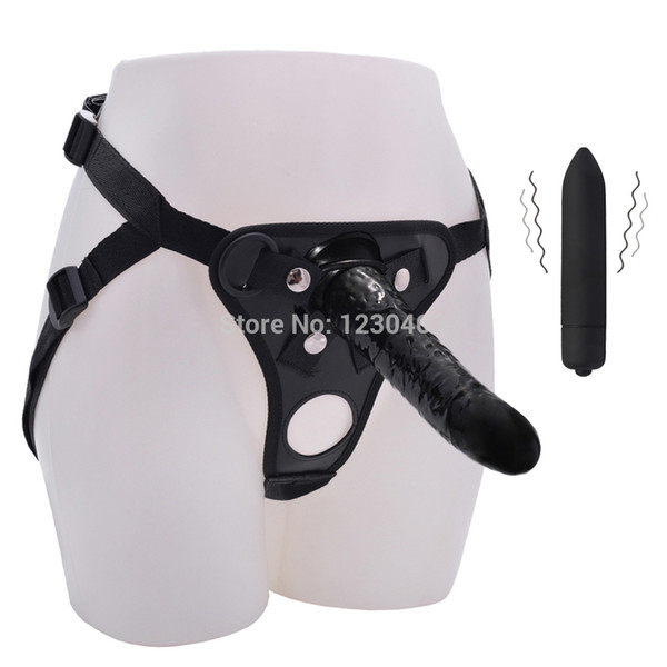 Strap On Realistic Dildo Pants for Men Couples Lesbian with Bullet Vibrating Strapons Harness Anal Vibrator Adult Game Sex Toys D18110105