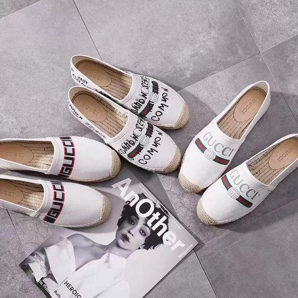 Huweifeng4 Qualidade Plana Carta Graffiti Top sapatos Alpercatas de Couro Genuíno Mulher Alpercatas Sapatos Casuais 35-41 Com Caixa