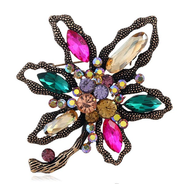 Classic Crystal Rhinestone Large Flowers Orchid Brooch Pins