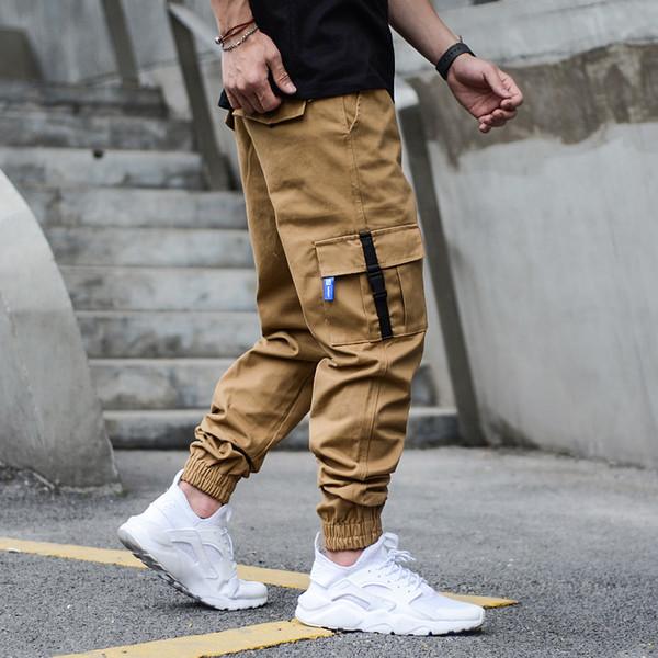 Мульти карманы грузовые брюки Мужские джинсы хаки черный цвет американский уличный стиль хип-хоп джинсы мужская мода классический бегуном брюки