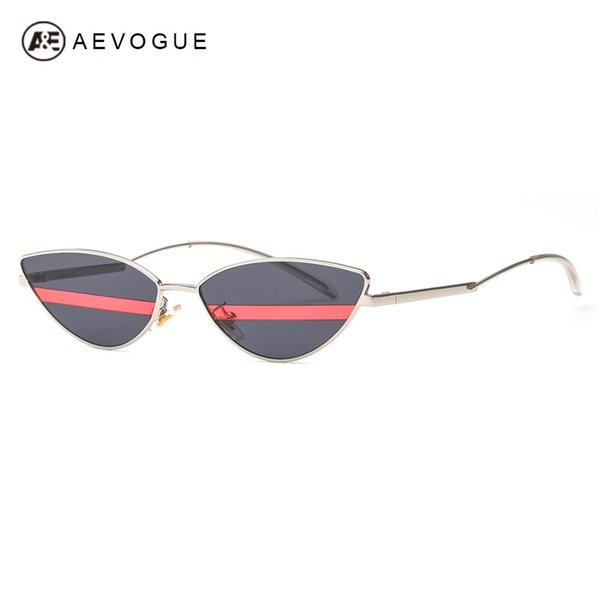 wholesale Sunglasses Women Cat Eye Unique Stripe Lens Curved Arms Double Color Lens Stylish Tiny Slim Sun Glasses Men UV400 AE0603