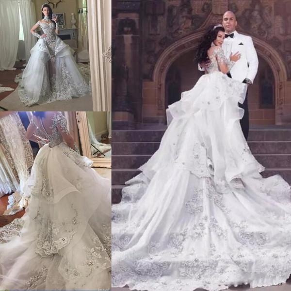 Abiti da sposa di cristallo Fantacy di lusso con gonna a maniche lunghe staccabile collo alto maniche lunghe abito da sposa 2018 abiti da sposa