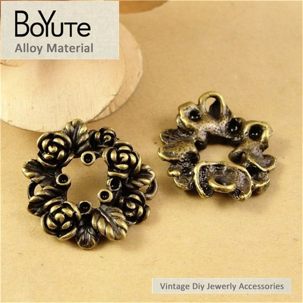 BoYuTe (40 Pieces/Lot) 26MM Vintage Antique Bronze Plated Zinc Alloy Rose Flower Circle Pendant Diy Charms for Jewelry Findings Components