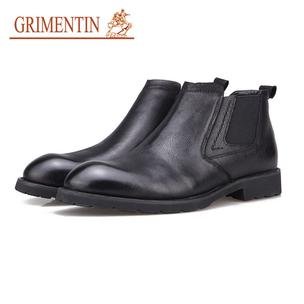 GRIMENTIN Winter brand Men Boots Hot Sale Genuine Leather Italian Black Fashion Casual Ankle Men Boots For Business Mens Shoes