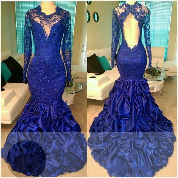2018 Honorable Decent Royal Blue Mermaid Prom Dresses Long Sleeve Backless Pattern Lace Formal Party Evening Dresses Prom Gowns