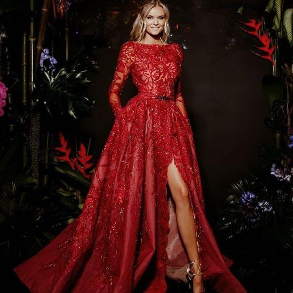 Великолепные красные вечерние платья А-силуэта с длинным рукавом и кружевными аппликациями Платье из красного ковра Очаровательное платье с разрезом по бокам с разрезом Дубай 2018 Платья для выпускного