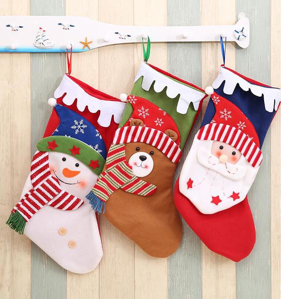 Christmas Stockings Cartoon.3 Style Snowflake Hat Christmas Stockings Kids Christmas Party Cartoon Santa Claus Snowman Elk Gift Socks Pink Christmas Decorations Rooms Decorated