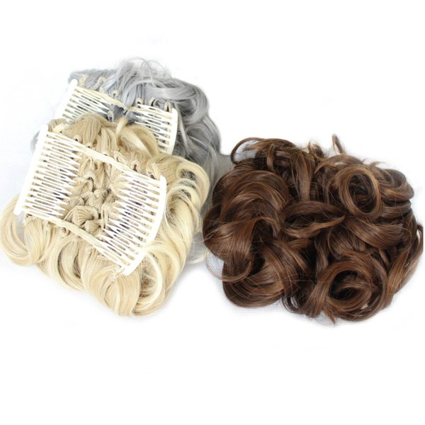 Rockstar 16Color Short Curly Synthetic Hair Big Bun Chignon Black Brown Two Plastic Comb Clips in Hair Extension Hairpiece