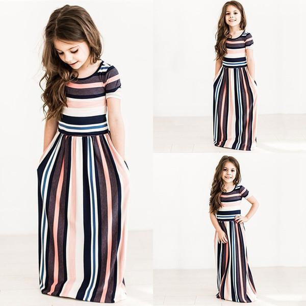 Girls Dresses Summer Girls Short Sleeve Colorful Striped Princess Dress Kids Dresses Girsl Beach Striped Dresses Kids Clothing AAA297