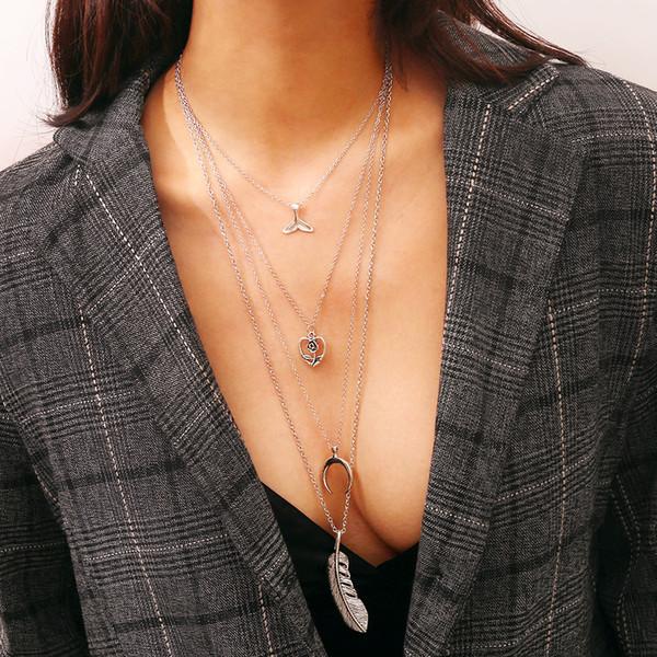 2018 New Boho Simple Chain Oro Argento Colore Nappa Perle Feather Pendant Multi Layer Collana Fine Jewelry For Women