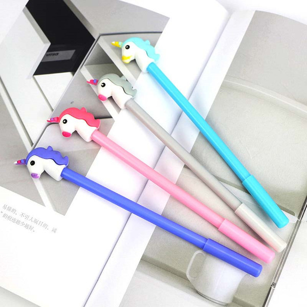 1Pcs Kawaii Black Ink Unicorn Gel Pen For Writting Cartoon Plastic Gel Pen 0.5mm For Kids Gift Office School Supplies Stationery