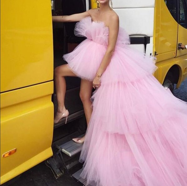 pink high low tiered ruffles prom Dresses Sexy Long sweetheart Overskirt Custom Made Party Evening Gowns abendkleider Tulle Formal Dress