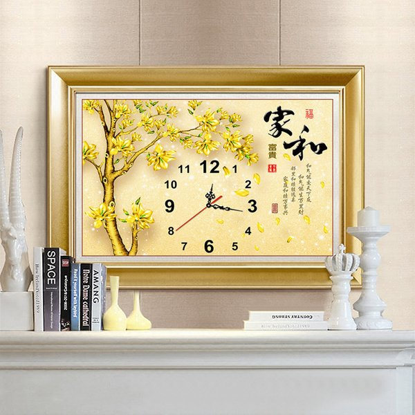 New Pattern Diamonds Picture Modern A Living Room Cross Embroidered Home And Riches And Honour Stick Drill Clocks And Watches Picture Golden